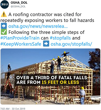 A roofing contractor was cited for repeatedly exposing workers to fall hazards. Following the three simple steps of #PlanProvideTrain can #stopfalls and #KeepWorkersSafe - osha.gov/stopfalls/