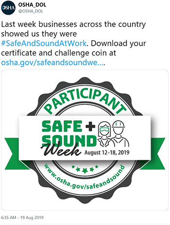 Last week businesses across the country showed us how they were #SafeAndSoundAtWork. Download your certificate and challenge coin at osha.gov/safeandsoundweek/