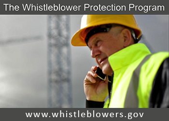 Photo of worker using a cell phone, with the caption: The Whistleblower Protection Program - www.whistleblowers.gov