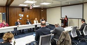 A meeting participant provides input to OSHA on whistleblower-related issues.