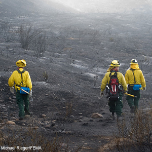 Photograph of firefighters | Michael Rieger/FEMA
