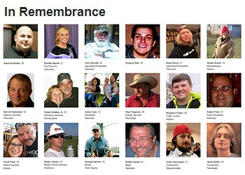 Photo tribute to workers who lost their lives on the job