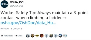 Worker Safety Tip: Always maintain a 3-point contact when climbing a ladder