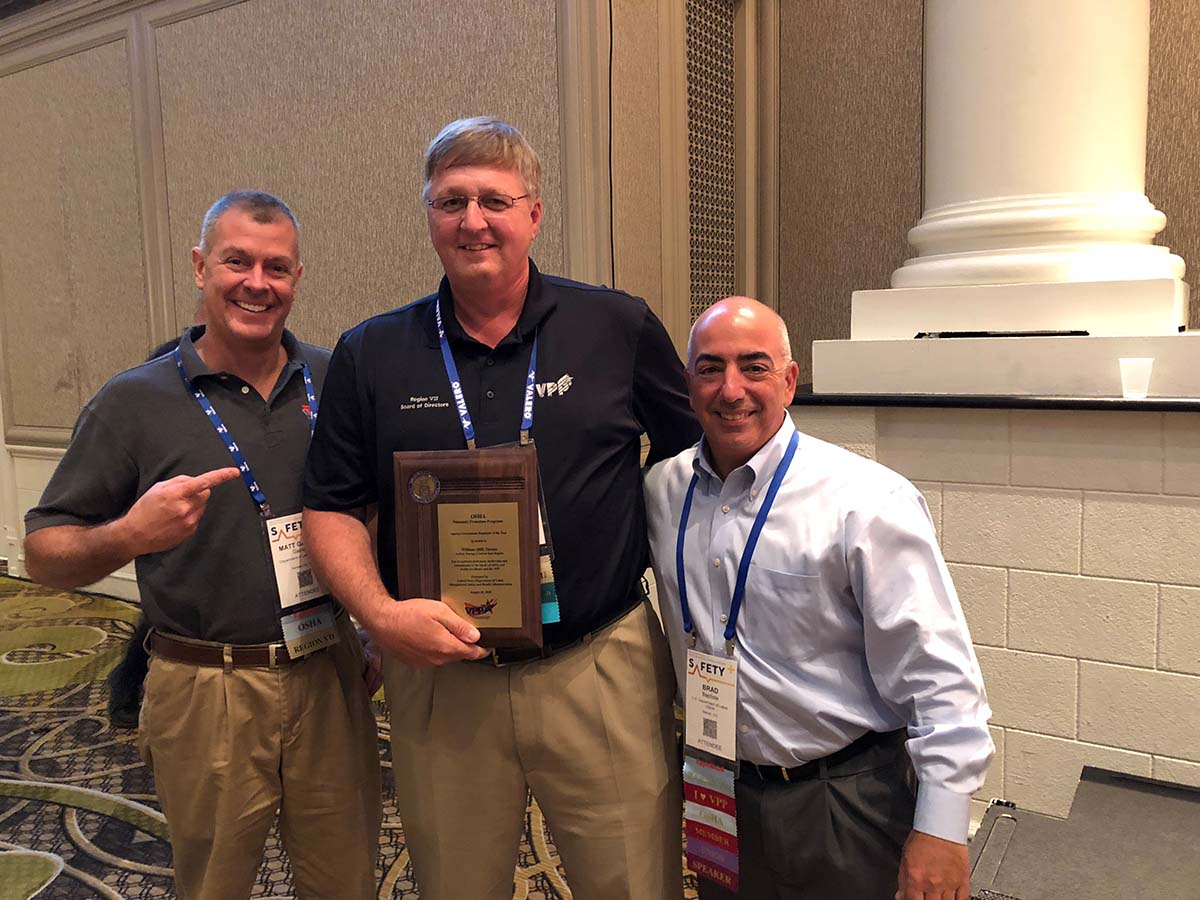 National SGE of the Year Award recipient, William (Bill) Turner with Region VII VPP Manager, Matt Gaines, and Region VIII VPP Manager, Brad Baptiste.