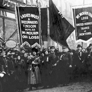 Mourners from the union that represented the Triangle employees gathered 10 days after the fire to remember the dead and call for workplace safety reforms. Photo source: International Ladies' Garment Workers' Union Archives, Kheel Center, Cornell University