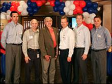 The partnership signing ceremony held at the Victoria, Texas, U.S. site. Shown from left to right are: Bob Francois, President, Specialty Materials; Walter Tyler, Global EHS Director; Don Shalhoub, then Deputy Assistant Secretary, OSHA; Jeff Gentry, INVISTA Chairman and CEO; Warren Primeaux, President, INVISTA Intermediates; and David Dotson, Senior Vice President, Upstream Operations.