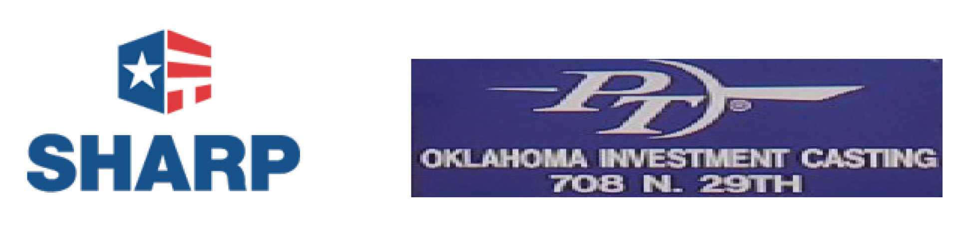 SHARP and PT Oklahoma Investment Casting logos