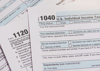 Photograph of tax forms