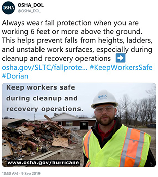Always wear fall protection when you are working 6 feet or more above the ground. This helps prevent falls from heights, ladders, and unstable work surfaces, especially during cleanup and recovery operations.